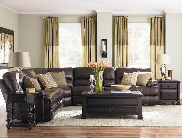 I like the black end tables and coffee table with the dark chocolate leather couch : coffee table for sectional with chaise - Sectionals, Sofas & Couches
