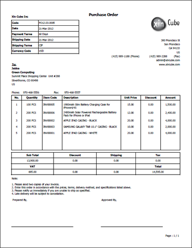 Purchase Order Template  Microsoft Purchase Order Template