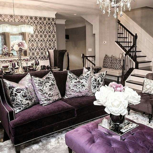 Purple Living Room Ideas: Gorgeouss Decor. Patterened With Royal Purple