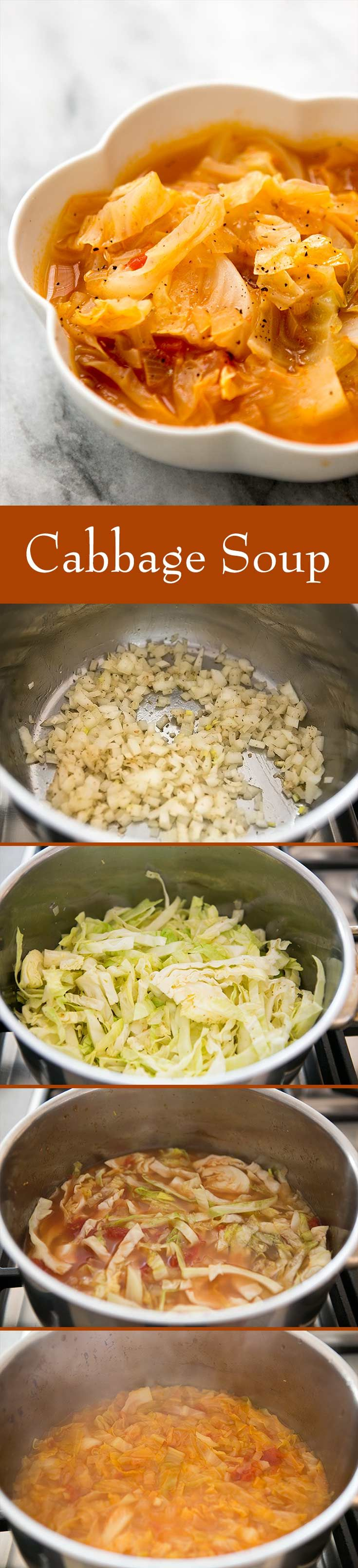 Cabbage Soup How to make simple cabbage soup that is healthy and nourishing with cabbage chicken stock onions and tomatoes On