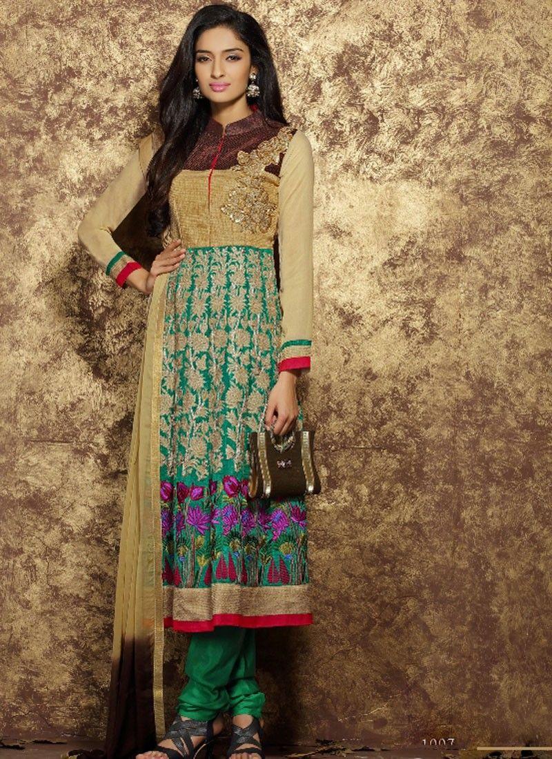 Charming Beige Georgette Party Wear Salwar Kameez