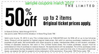 image about The Limited Printable Coupon titled The Confined discount codes march 2017 totally free printable coupon codes