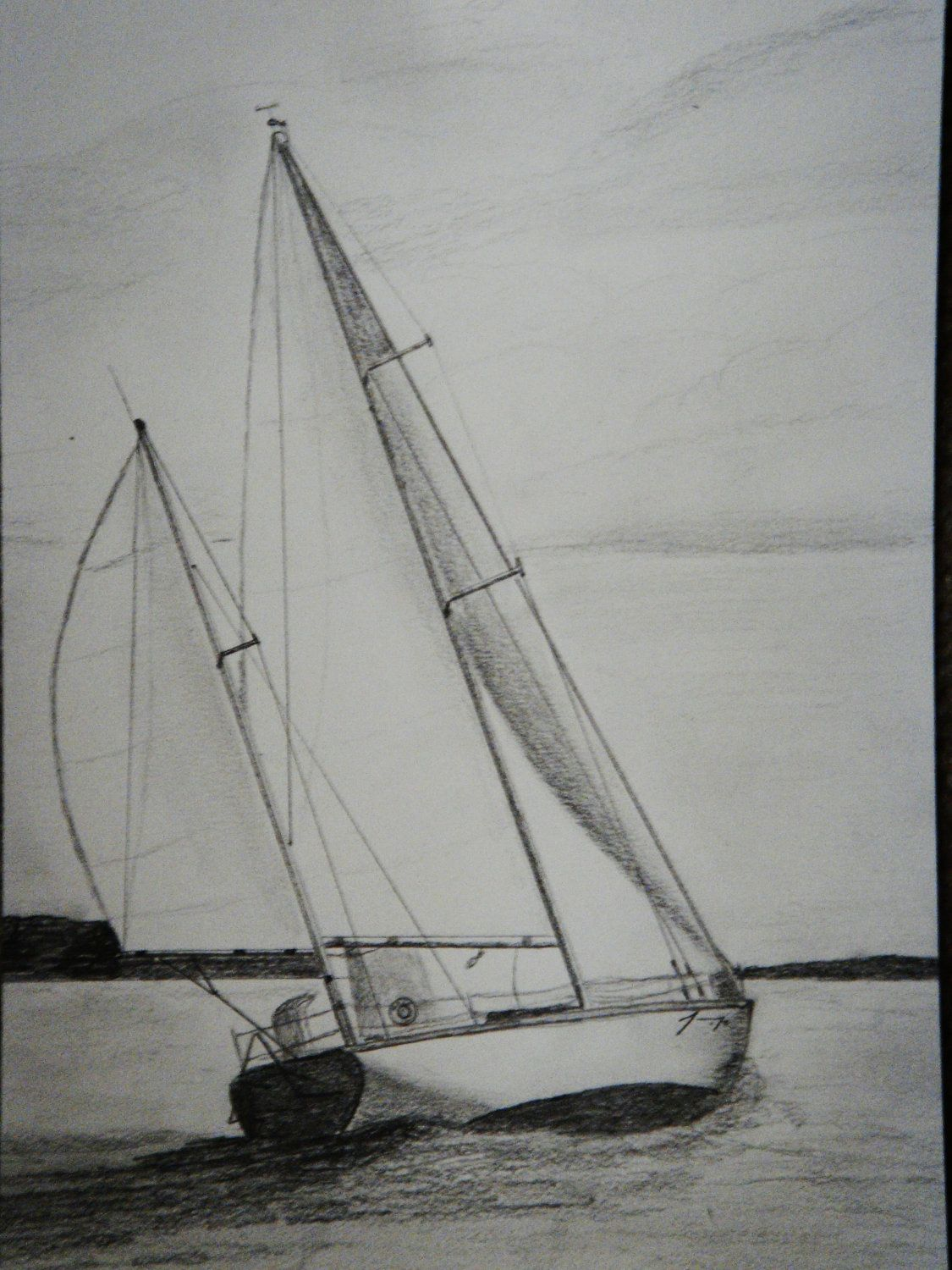 Sailboat Group of 5 Original Pencil Drawings - ON SALE ...