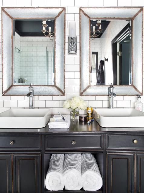 Timeless Black And White Master Bathroom Makeover Ideas Design With Vanities Tile Cabinets Sinks Hgtv