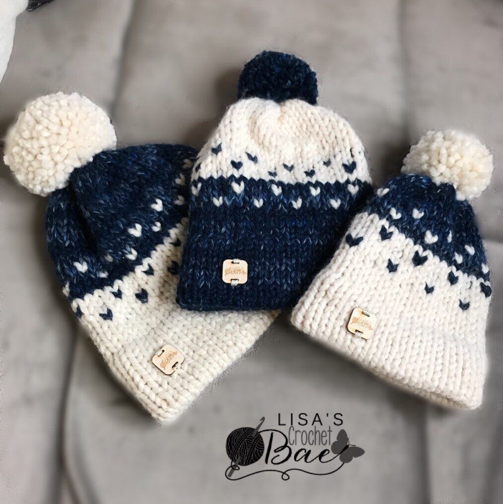 04d6ccce8 Knit double brim fair isle hat with Pom Pom for the whole family ...
