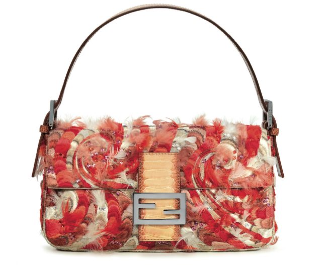 Red and white swirled Fendi baguette with feathers and sequins Pain  Français, Broderie De Perles 76fb92b1caf