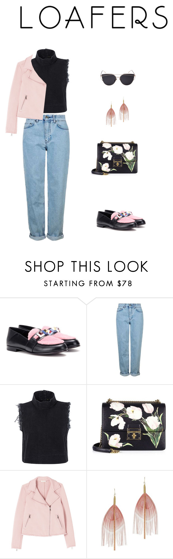 """""""Loafer 1"""" by ovgunalbantoglu ❤ liked on Polyvore featuring Fendi, Topshop, Rachel Comey, Dolce&Gabbana and Serefina"""