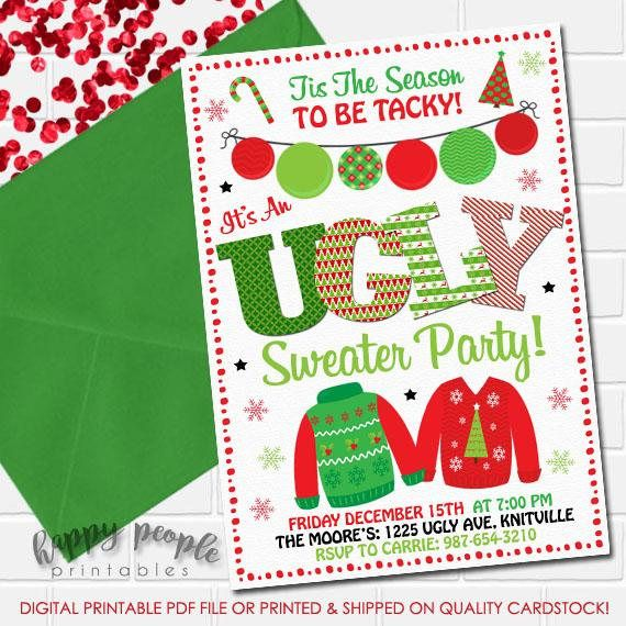 Ugly Sweater Invitation, Ugly Sweater Party Invite, Holiday Sweater - holiday party invitation