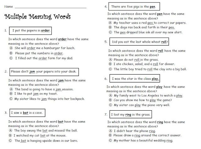 Multiple Meaning Words  Education    Multiple Meaning