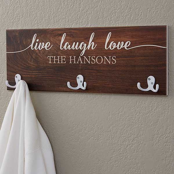 Personalized Coat Rack Live Laugh, Personalized Wooden Coat Racks