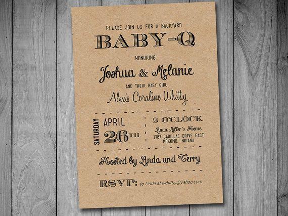 Baby Q Baby Shower Invitation Template Download Black Kraft Baby Girl Invitation Ba Baby Shower Invitation Templates Baby Girl Invitations Baby Q Invitations