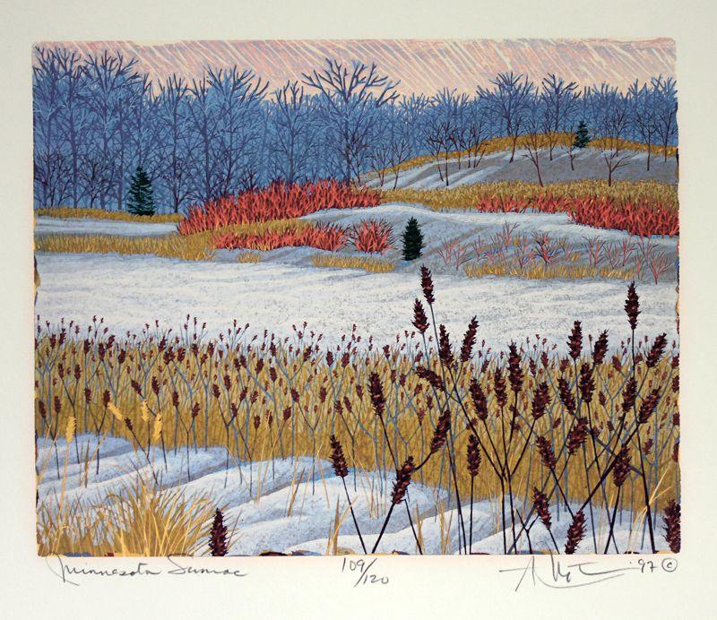 **Minnesota Sumac by Gordon Louis Mortensen. reduction color woodcut.