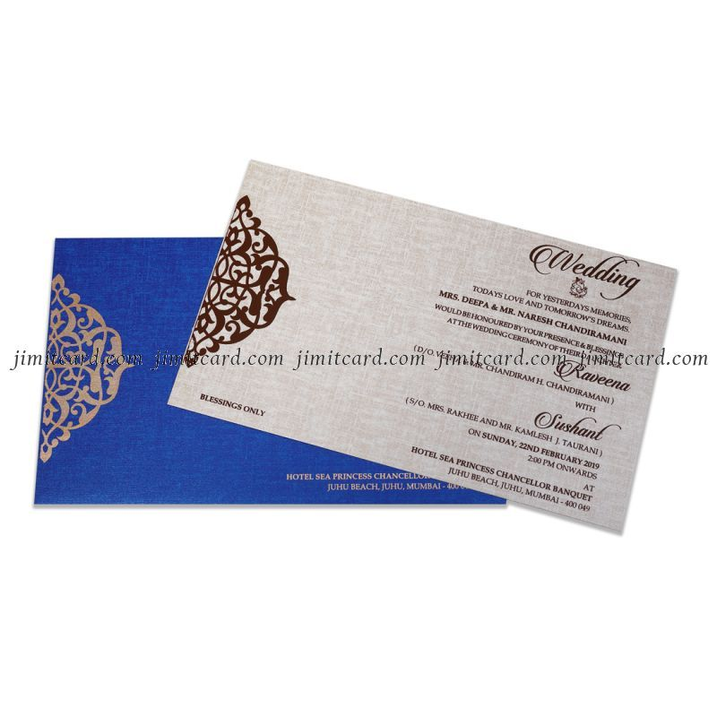 Royal Blue Color Marriage Invitation Card Design With Custom