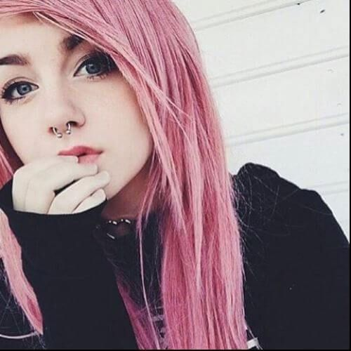 long pink hair emo