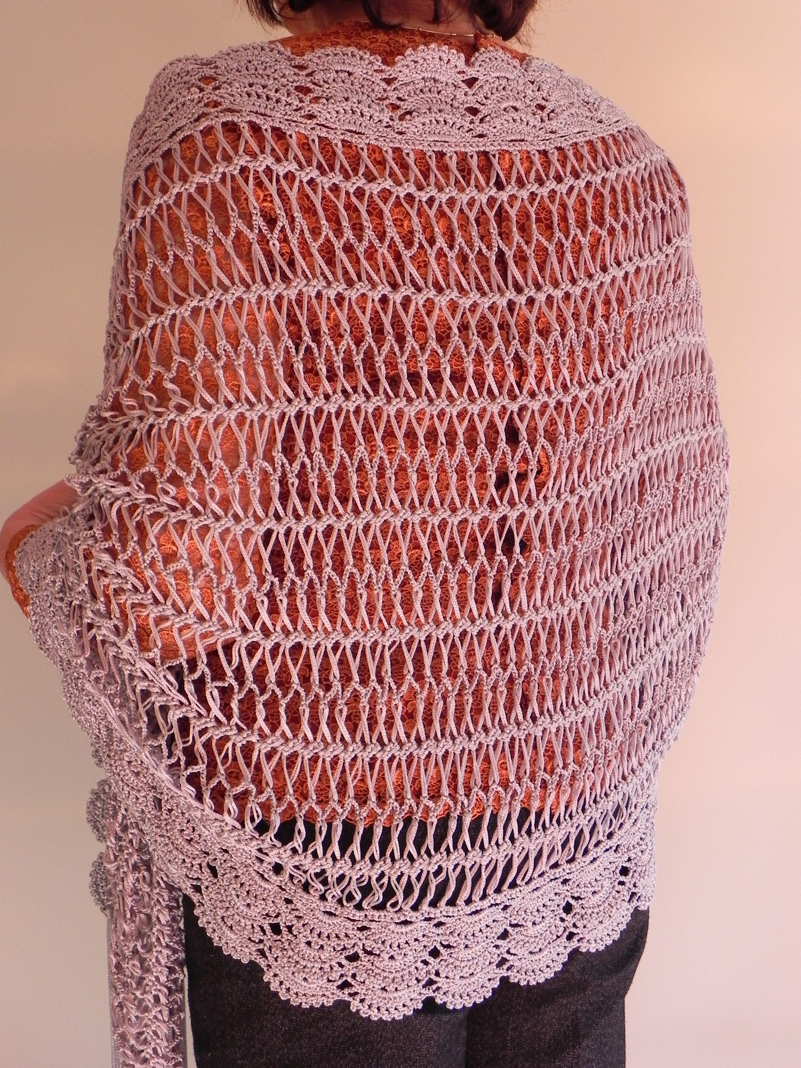 Chal de ganchillo y punto de horquilla | Patrón de punto de crochet ...