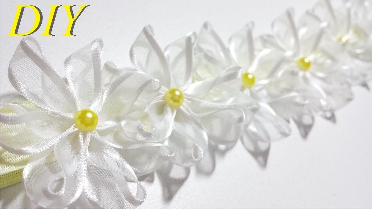 282a9abfc3a9 Como Hacer Lazos DIY #102 Bandana Floral con Cinta Organza Tutorial ...