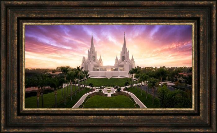 San Diego Temple From On High (23x38 Framed Canvas Giclee) | San ...
