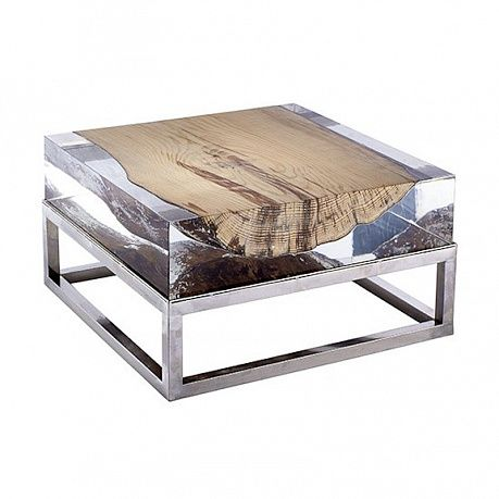 F247 Nilleq Acrylic Coffee Table With Metal Base
