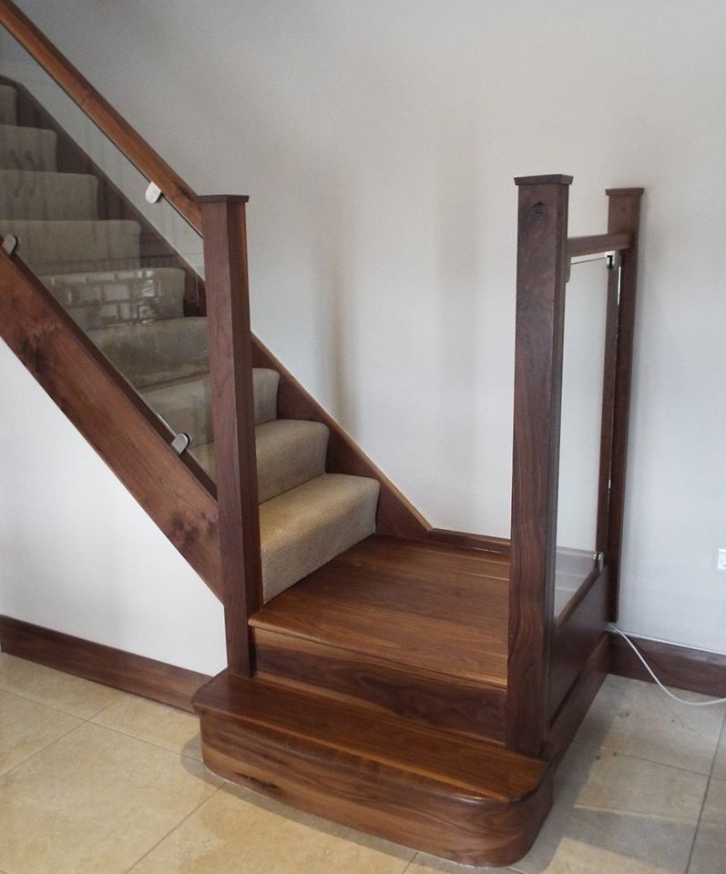 Best Walnut Staircase With Glass Balustrade And Walnut Feature 400 x 300