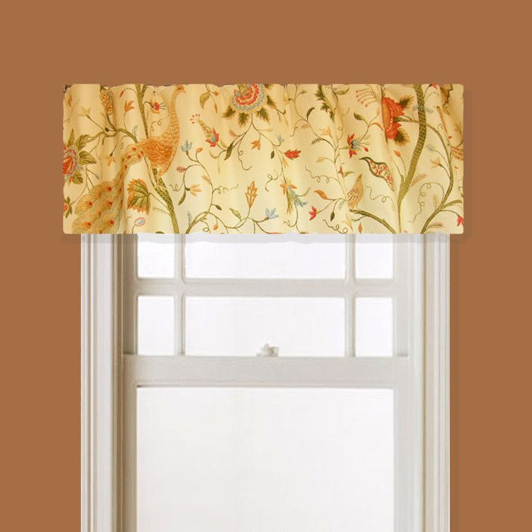 Lined Window Valance Peacock Amp Bird Floral Fabric Pale