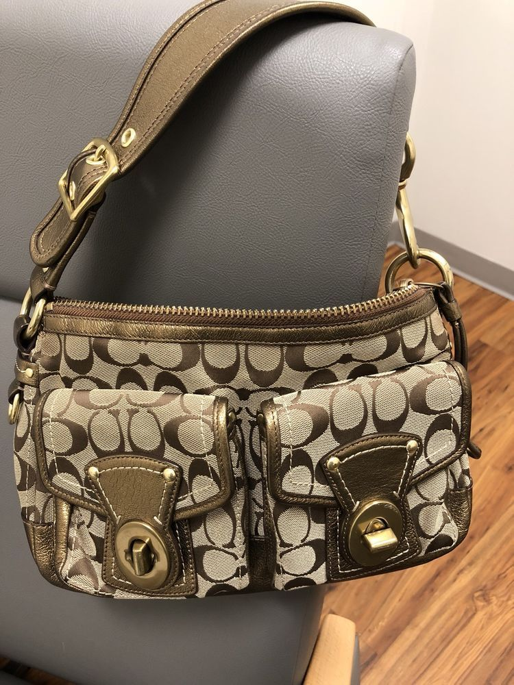 Coach Legacy Signature Turnlock Shoulder Bag Metallic Bronze Leather   fashion  clothing  shoes   0ff54261bf638