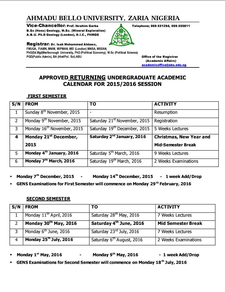 Ahmadu Bello University Zaria Abu 2016 2017 Academic Calendar