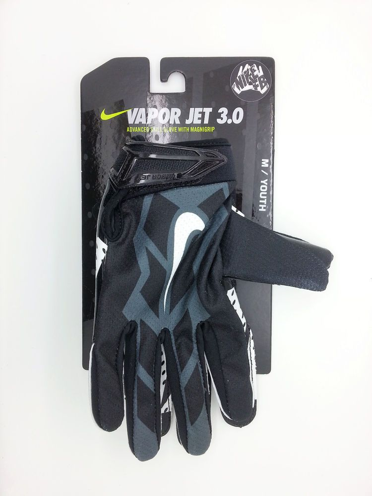 best website c93e1 84f50 NIKE VAPOR JET 3.0 BLACK FOOTBALL GLOVES PAIR (YOUTH MEDIUM) -- NEW  Nike