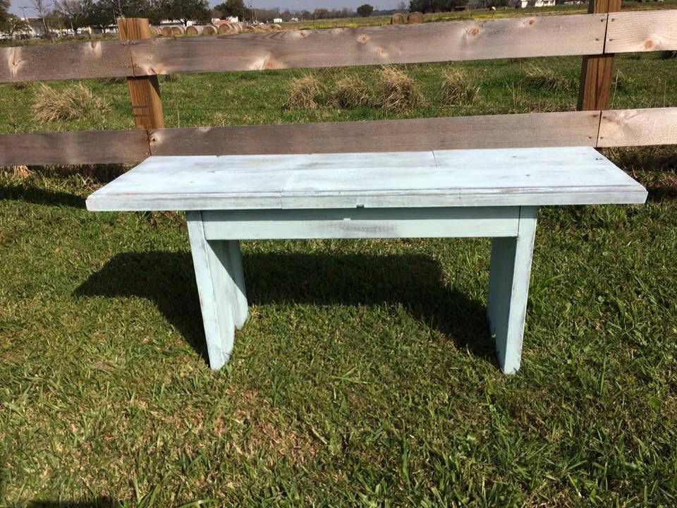 Distressed Blue On Gray Bench By Thefamilytablela On Etsy Grey Benches Family Table