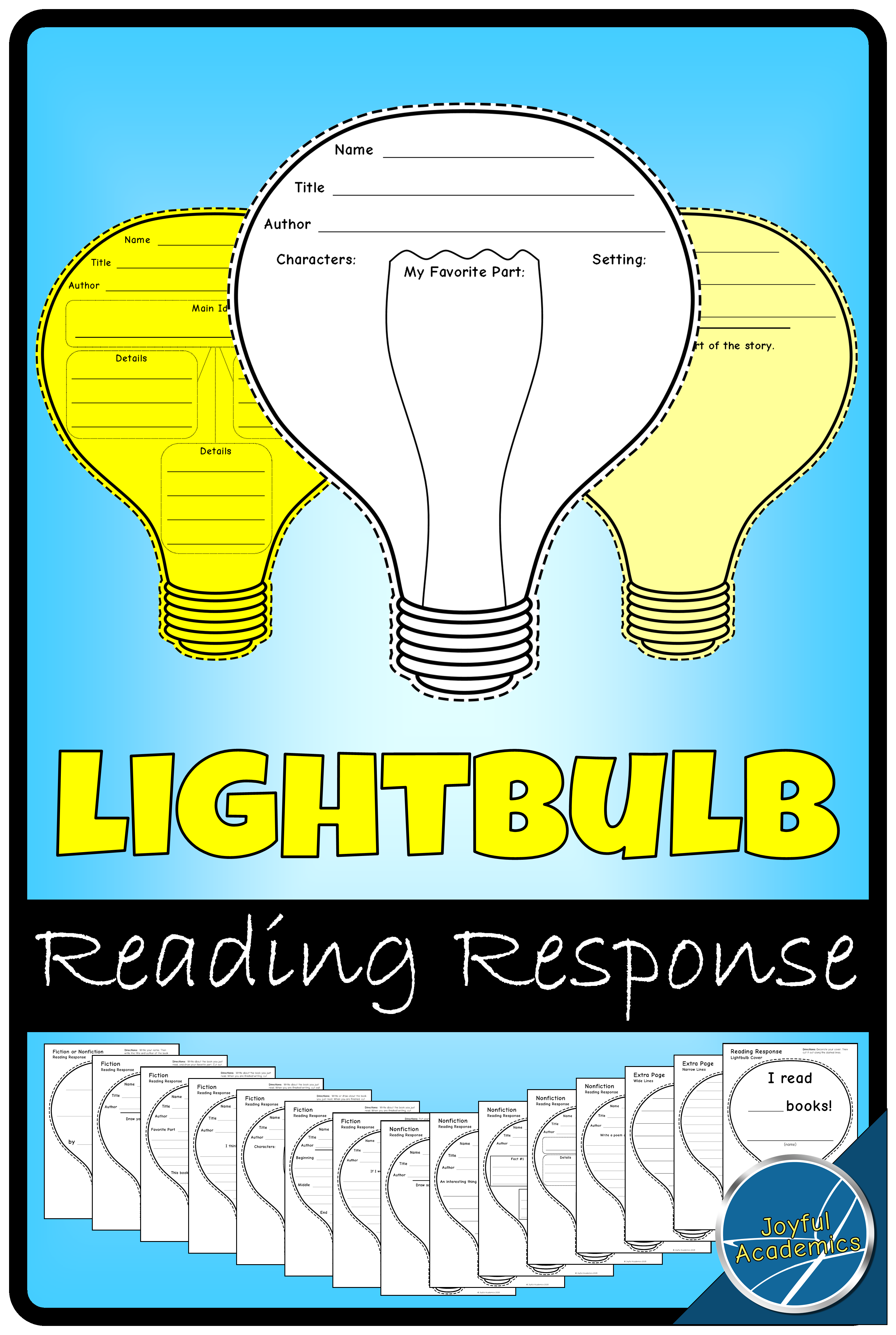 4forfall Lightbulb Shaped Reading Response Sheets for Any Book ...