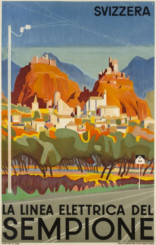 """1934 Electric Simplon Railway company. The simplon tunnel is joining Switzerland and Italy under the Alps. The Middle ages castels of """"Valère"""" and """"Tourbillon"""" are overhanging the city of Sion in the canton of Valais, Swiss vintage travel poster"""