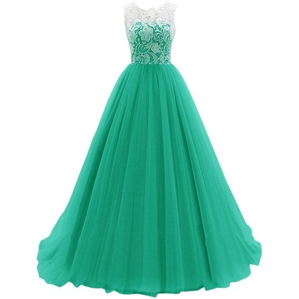 Dresstells Women's Long Tulle Prom Dress Dance Bridesmadi Gown with... ($70) ❤ liked on Polyvore featuring dresses, gowns, abiti, lullabies, green prom dresses, long green dress, long gowns, green evening gown and long prom gowns