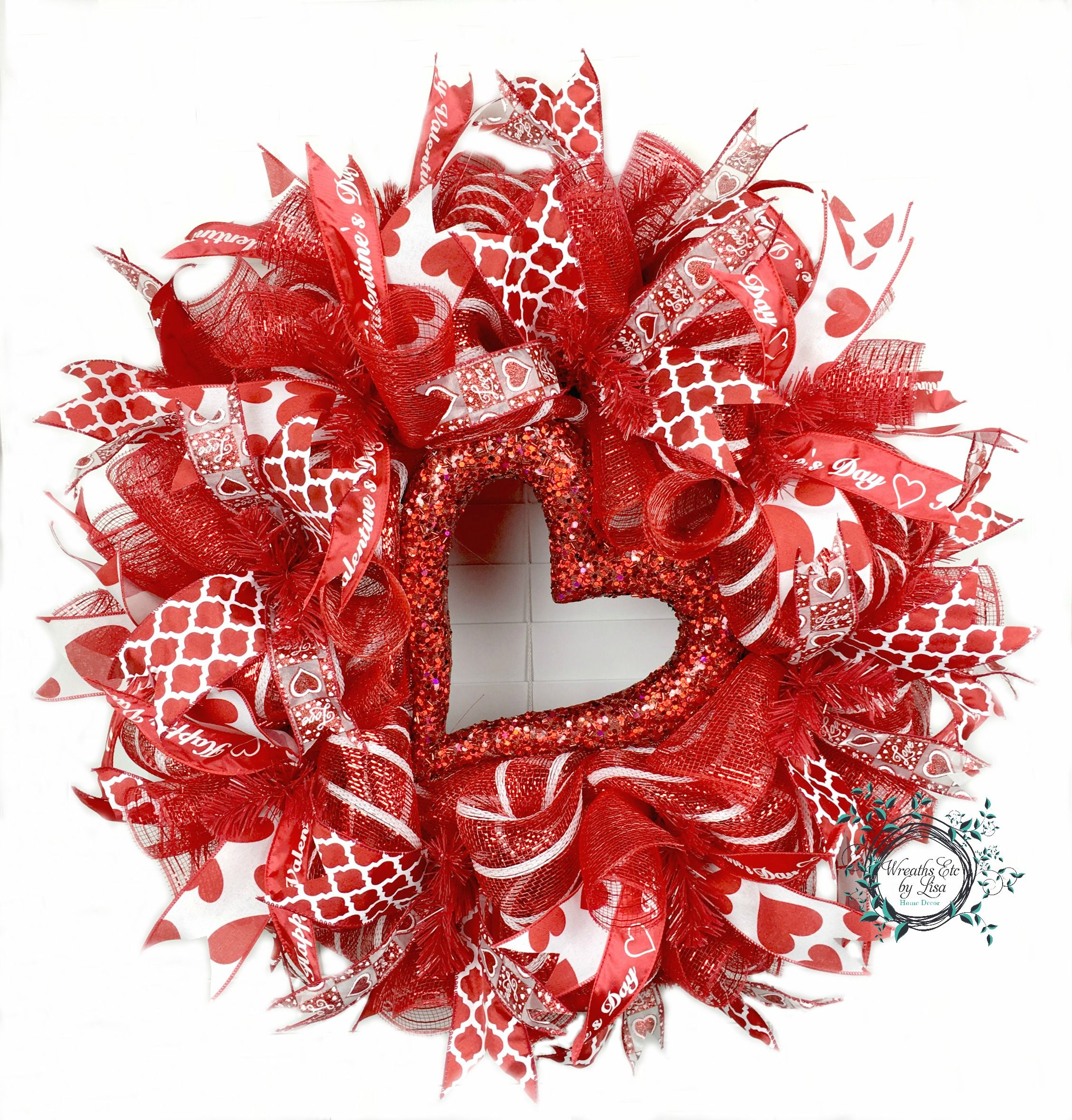 Valentine S Day Red White Heart Deco Mesh Wreath Custom Order By