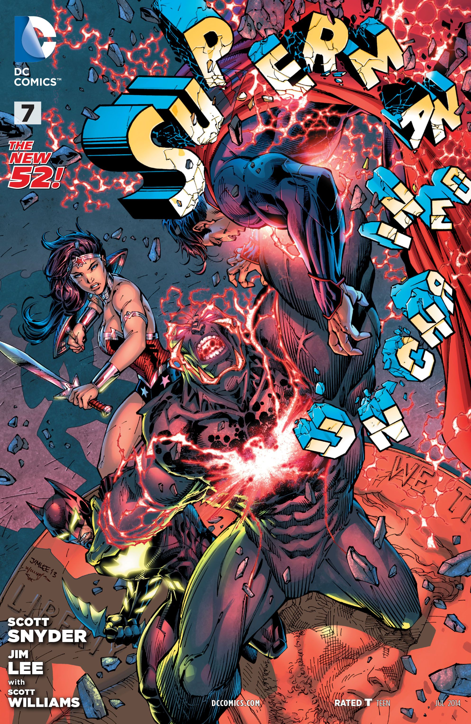It's a rampage in the Batcave! It's come to this: Superman, Batman and Wonder Woman against Wraith! Alone, they wouldn't have a chance – but they don't have much of one together, either! And all the while, Lex Luthor's machinations are clicking into place…