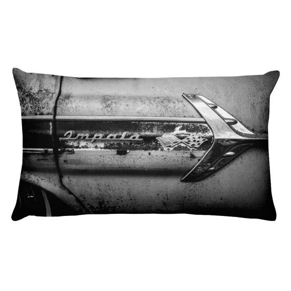 Classic Car Pillow and Case, 1960s Chevy Impala Cushion, Auto Collection Bedding, Home Staging Interior Decor