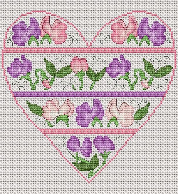 Sweet pea heart free cross stitch chart embroidery