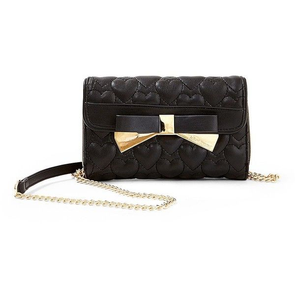 Betsey Johnson Be Mine Forever Crossbody Bag ($75) ❤ liked on Polyvore featuring bags, handbags, shoulder bags, black, quilted faux leather crossbody, black quilted purse, black crossbody, quilted shoulder bag y black quilted handbag
