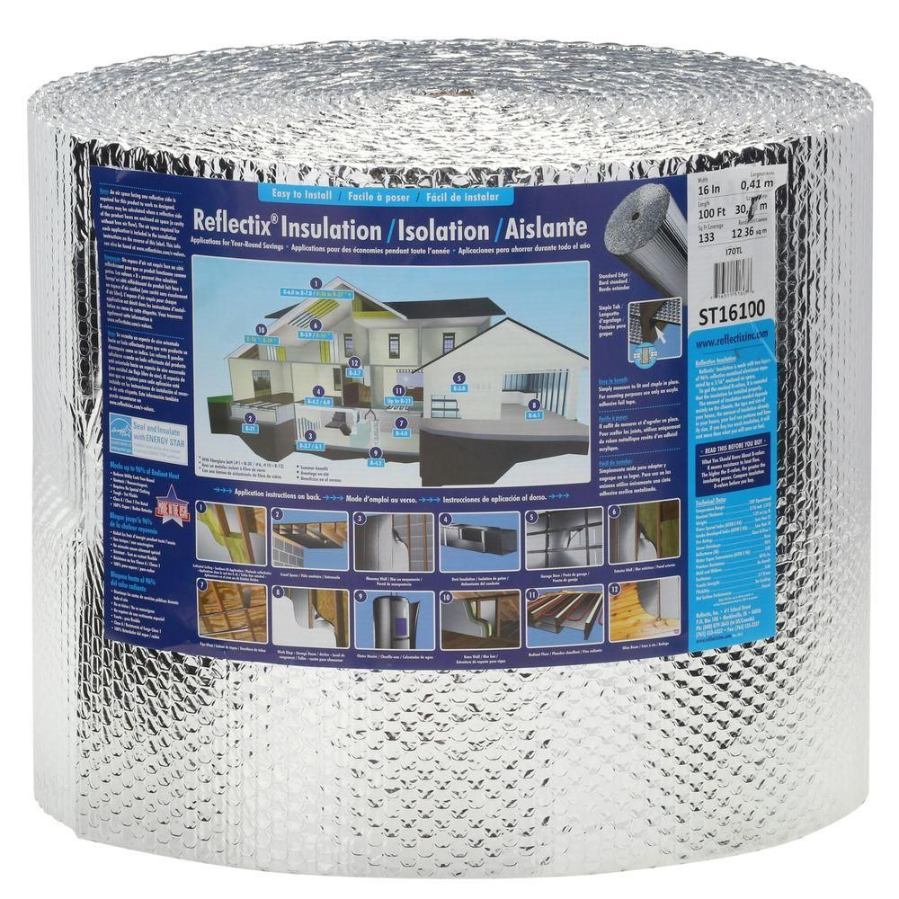 Reflectix 16 In X 100 Ft Double Reflective Insulation Roll With Staple Tab Edge St16100 Reflective Insulation Radiant Barrier Insulation Roll Insulation