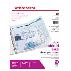 Brand Tabloid Size Sheet Protectors 11 X 17 Clear Pack Of 10 Item 697146 Office Depot Sheet Protectors Depot