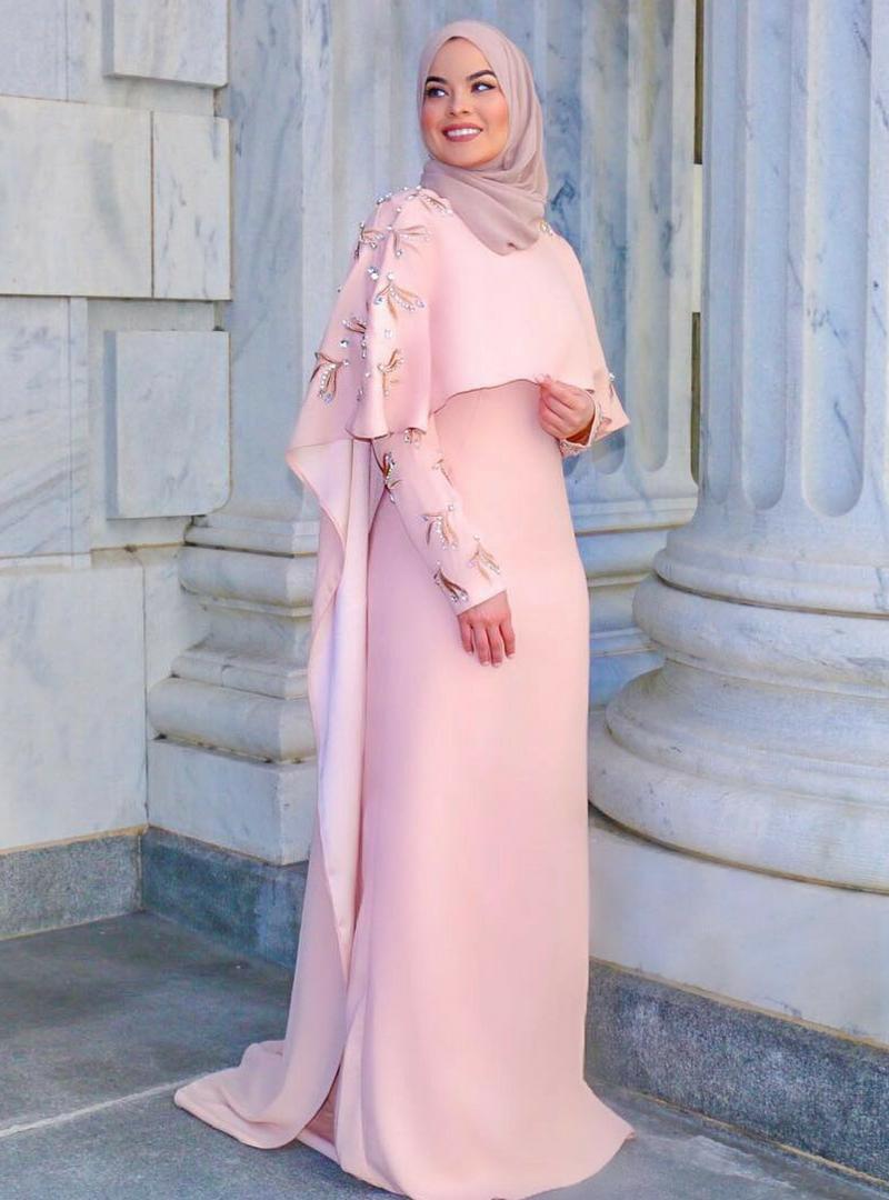 e2e4104af58ec Lavender Blush Embroidered Cape Muslimah Evening Dress Styleneur