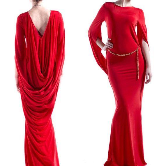 Open Back Dress, Cocktail Dress, Red Wedding Dress, Long Formal ...