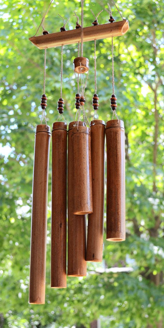 Hand crafted bamboo windchime with hemp and wooden beads for Wind chime craft projects