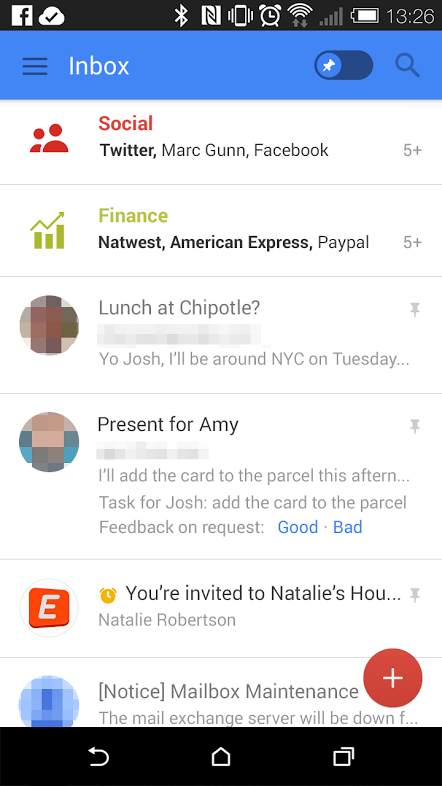 New Gmail interface under testing. Mobile mail list view. | Email ...