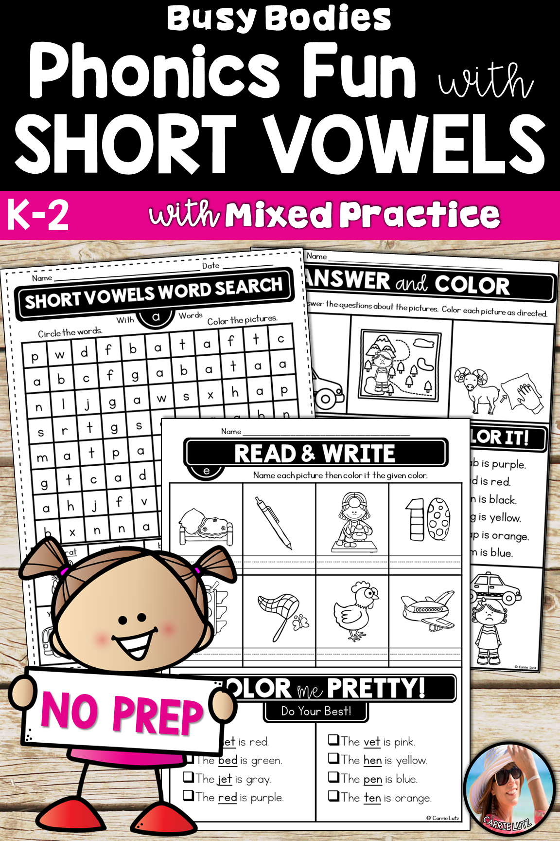 Short Vowels Worksheets Busy Bo S No Prep