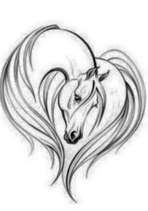 Horse heart tattoo   Neat tattoos in 2019   Horse artwork, Horse