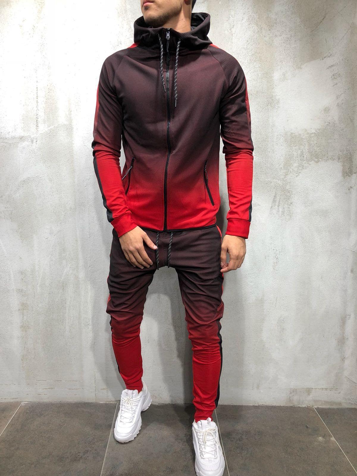 049773da0 Men Tone Dye Fade Track Suit Sweatpant Hoodie Sweater - Red 3957 ...