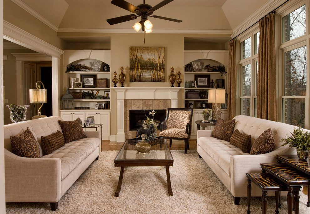 Beige Sofa Decorating Ideas Family Room Traditional With Dark Wood Side T Traditional Family Rooms Traditional Design Living Room Living Room Decor Traditional