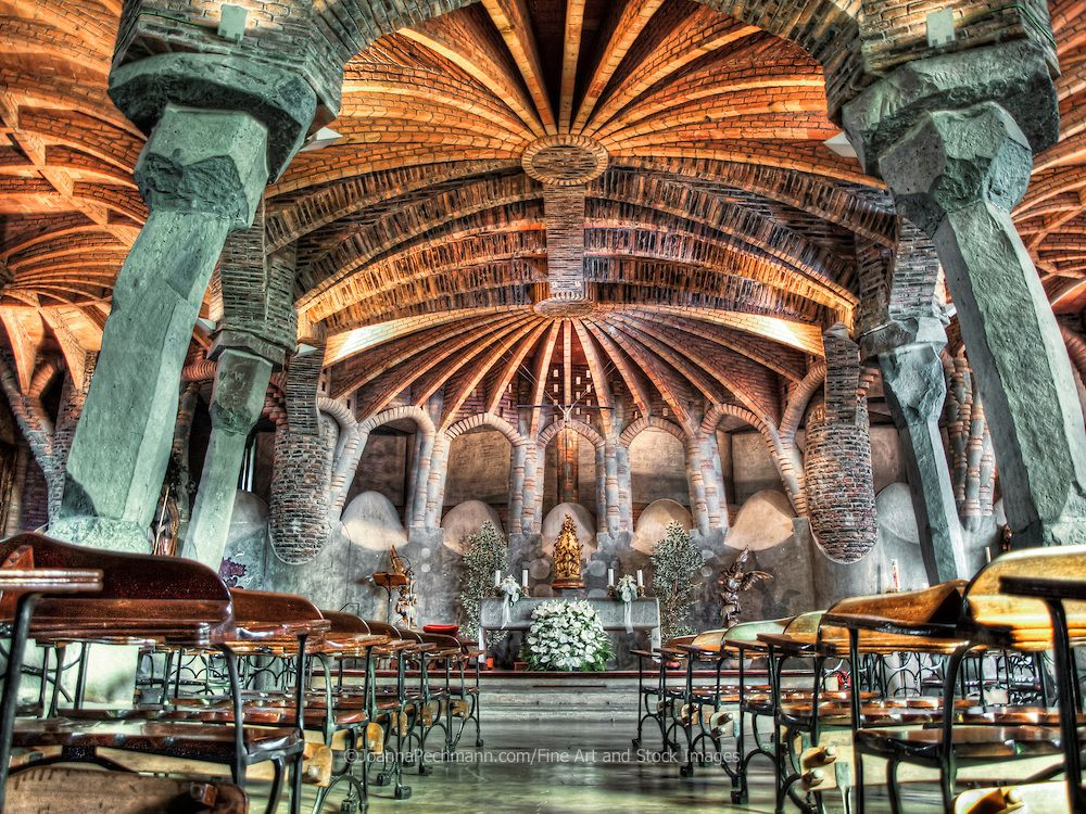 Interior of the crypt in Colonia Guell. | Fine art photography by ...  Barcelona ArchitectureAntoni GaudiBarcelona ...