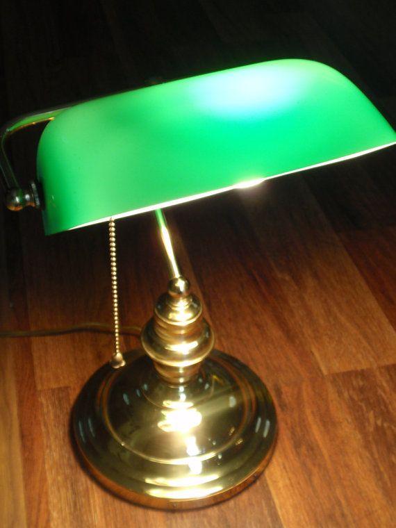 Home Decor Vintage Green Glass Banker S Lamp By Theurbanden 48 00 Retro Desk Lamp Lamp Desk Lamp
