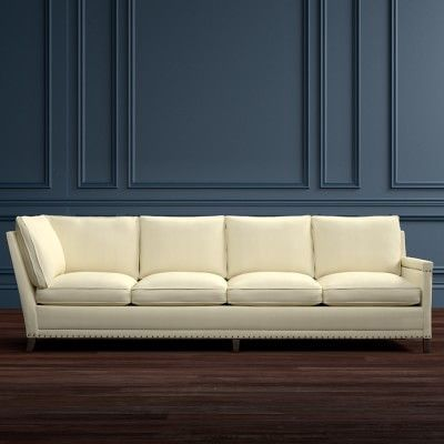Addison Four Cushion Corner Sofa With Down Blend, Right, Performance  Textured Weave, Solid