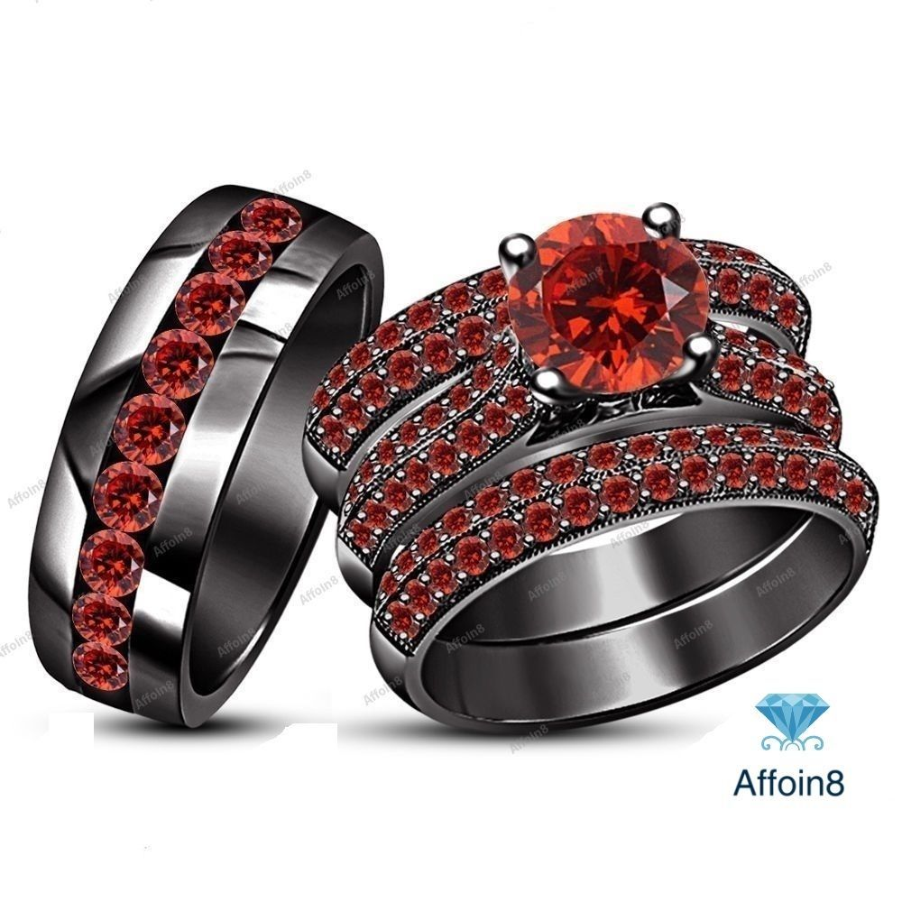 3.80 CT Round Cut Red Garnet 925 Silver His/Her Trio Engagement Ring Set SZ 5-14…
